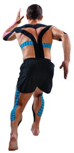 Man running wearing roacktape for article fascial taping what is it for
